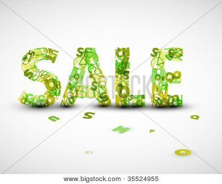 Vector green sale label made from various letters