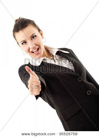 successful business woman cheerful thump up isolated on white background