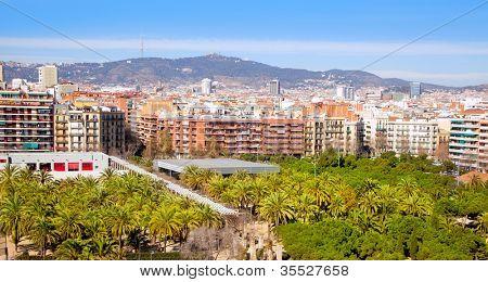 Barcelona Panoramic with Tibidabo mountain under blue sky