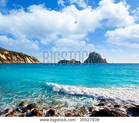 Es vedra island of Ibiza view from Cala d Hort in Balearic islands