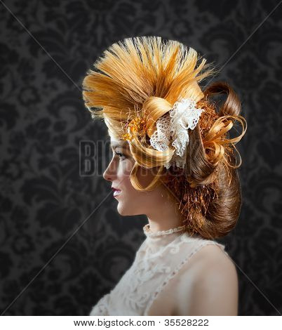 Hairdressing and makeup fashion woman on dark background