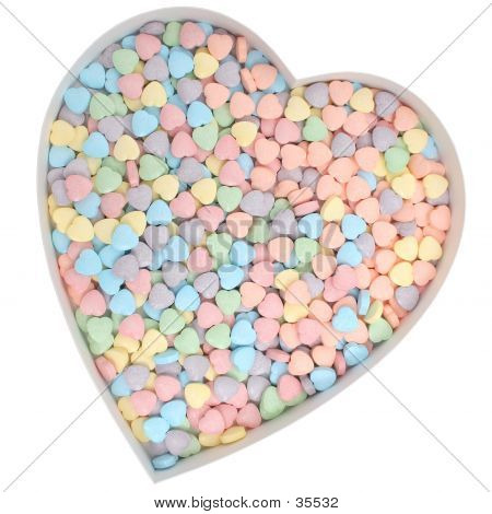 Heart Shaped Candies With With Clipping Path