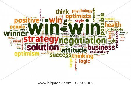 Win-win negotiation solution concept in word tag cloud on white background