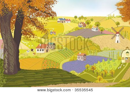 View from a hill on a farm in autumn