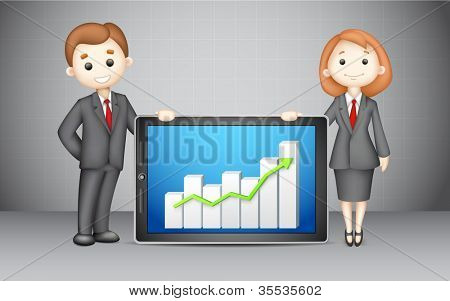 illustration of confident 3d business people in vector with presenting company bar graph