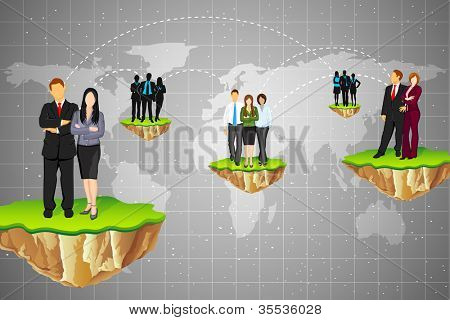 illustration of business connection between different part of world