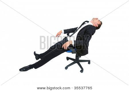 Isolated young business man sleeping