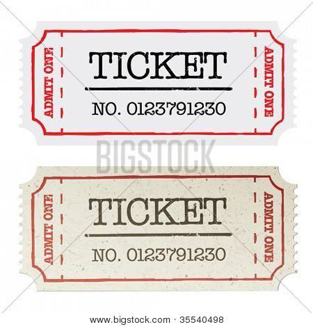Vintage paper ticket, two versions. Vector illustration, EPS10.