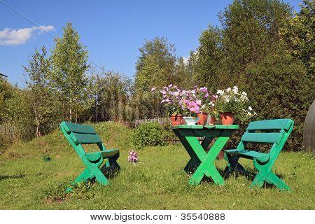 summer flowerses on garden table