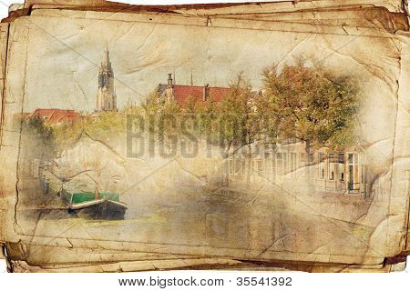 views of Dutch city of Delft in vintage style, like postcards