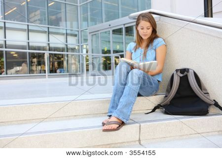 Attractive Woman Reading At School Library