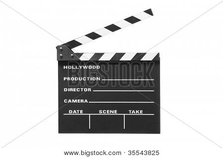 A studio shot of an open movie clap isolated against white background
