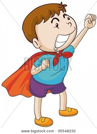 illustration of a hero boy on a white background