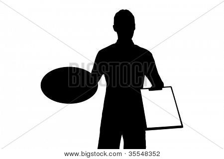 A silhouette of a delivery boy with clipboard delivering a pizza isolated on white background
