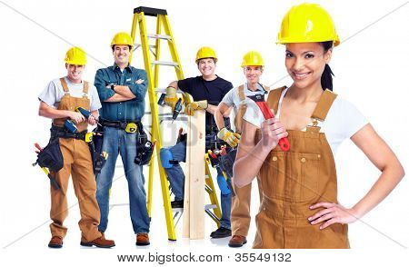 Young smiling Worker woman with a group of industrial staff. Isolated over white background