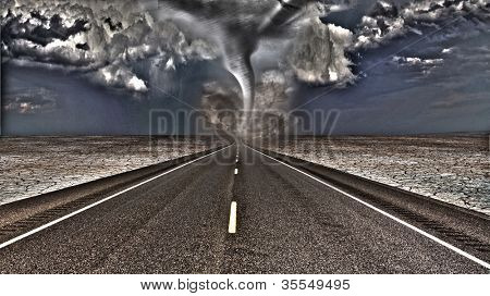 Tornado on road ahead