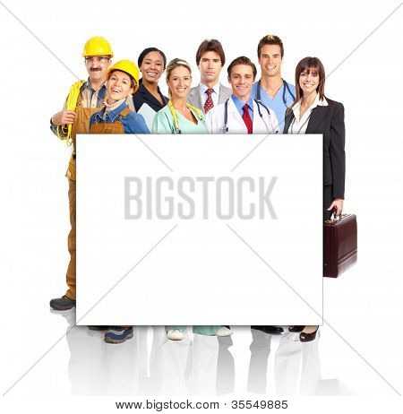 Group of industrial workers with a banner. Isolated over white background.