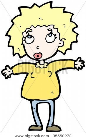 cartoon blond woman looking up