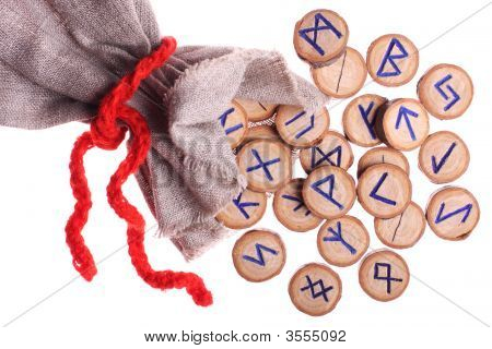 Runes And Pouch Isolated