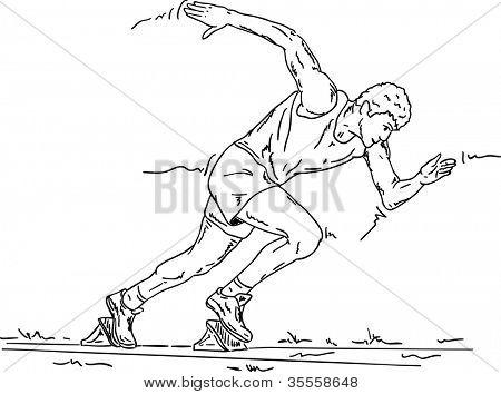 vector - sprinter in the starting blocks