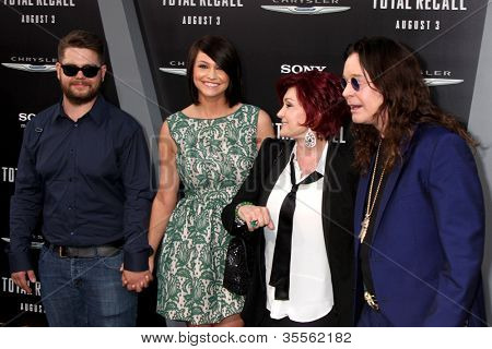 "LOS ANGELES - AUG 1:  Jack Osbourne, his wife, and Sharon & Ozzy Osbourne arrives at the ""Total Recall"" Premiere at Graumans Chinese Theater on August 1, 2012 in Los Angeles, CA"
