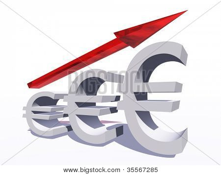 High resolution concept or conceptual 3D red glass euro symbol with a arrow pointing up isolated on white background as a metaphor for business,finance,money,growth,success,stock,currency or economy