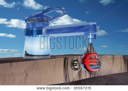High resolution concept or conceptual abstract tap with a drop falling over blue sky background as a metaphor for money,euro,crisis,finance,economy,wast e,banking,business, loss,source,wealth or rich