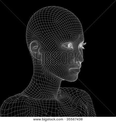 Conceito de alta resolução ou conceitual de estrutura de arame 3D cabeça fêmea humana isoladas no fundo preto como
