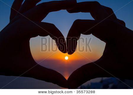 Romantic Sunset Heart