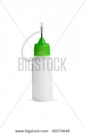 Empty plastic bottle with needle cap