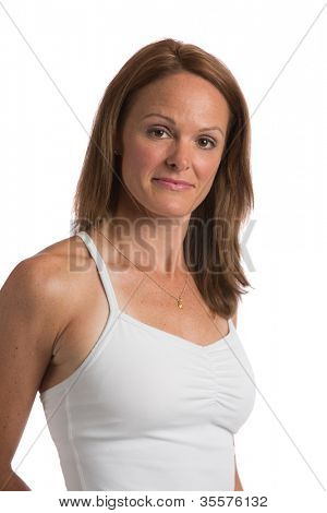 Mid Age Natural Looking Female Headshot with Smiling Expression