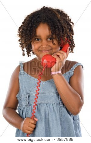 Pretty Girl With Red Phone