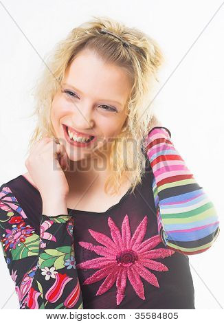A stunningly beautiful young blond woman  looking relaxed and happy