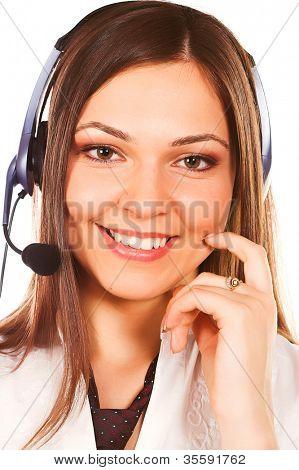 A friendly secretary/telephone operator isolated on white