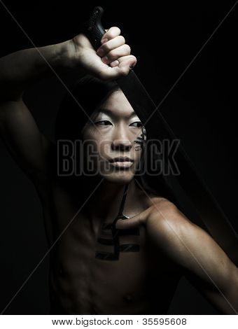 asian man with katana. face-art.