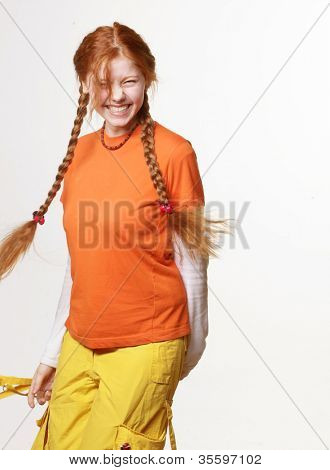 picture of lovely redhead girl with long braids