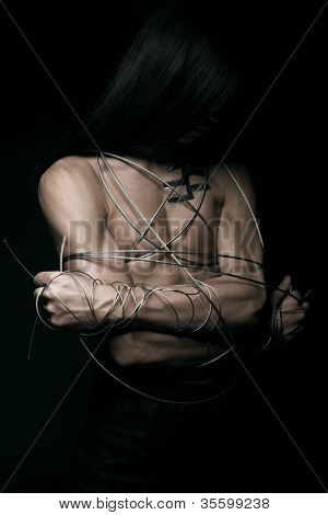 man with steel wire