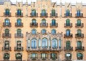 Barcelona city facade with balconade in Catalonia Spain