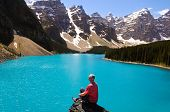picture of rocky-mountains  - blue lake and some mountain in Canada - JPG