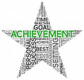 Achievement and success concept related words in tag cloud isolated on white in star shape