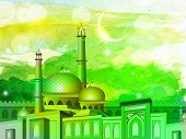 picture of kaba  - Illustration of Mosque or Masjid on colorful grungy background - JPG