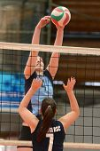 KAPOSVAR, HUNGARY - MARCH 16: Petra Horvath (4) in action at the Hungarian Championship volleyball g