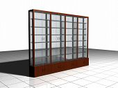 pic of minimalis  - A kind of wardrobe to display a think to sell combined from glass and wood materials - JPG