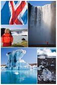 Montage of people hiking and exploring the landscape of Iceland including Skogafoss and Godafoss waterfalls and Jokulsarlon iceberg lake poster