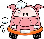 image of car wash  - A happy pig cartoon car washing with soap bubbles.