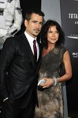 LOS ANGELES - AUG 1: Colin Farrell, sister Claudine Farrell at the Los Angeles Premiere of 'Total Re