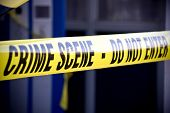 stock photo of crime scene  - Close up crime scene investigation police boundary tape