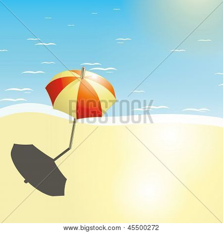 Beach and umbrella in a summer design