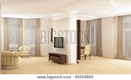 Modern living, dining room with a large sofa