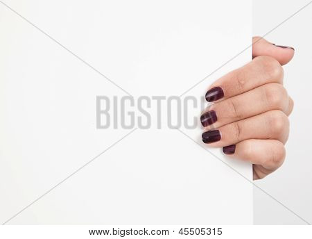 Hand Holding A With Board